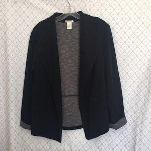 Stretchy Casual Black Blazer with Gray Cuffs